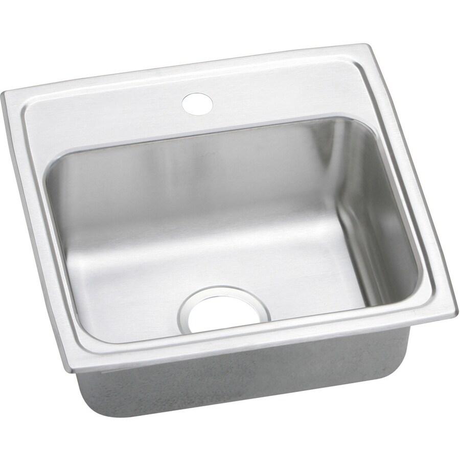 Elkay Gourmet 18-in x 19-in Stainless Steel Single-Basin Drop-In 1-Hole Residential Kitchen Sink