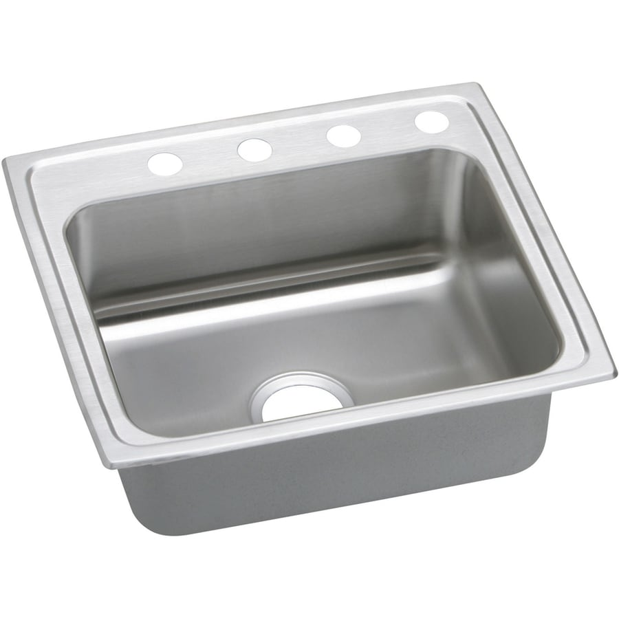Elkay Gourmet 19.5-in x 22-in Stainless Steel Single-Basin Drop-In 4-Hole Residential Kitchen Sink