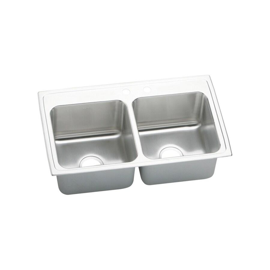 Elkay Gourmet 19.5-in x 33-in Lustertone Double-Basin Stainless Steel Drop-In 2-Hole Residential Kitchen Sink