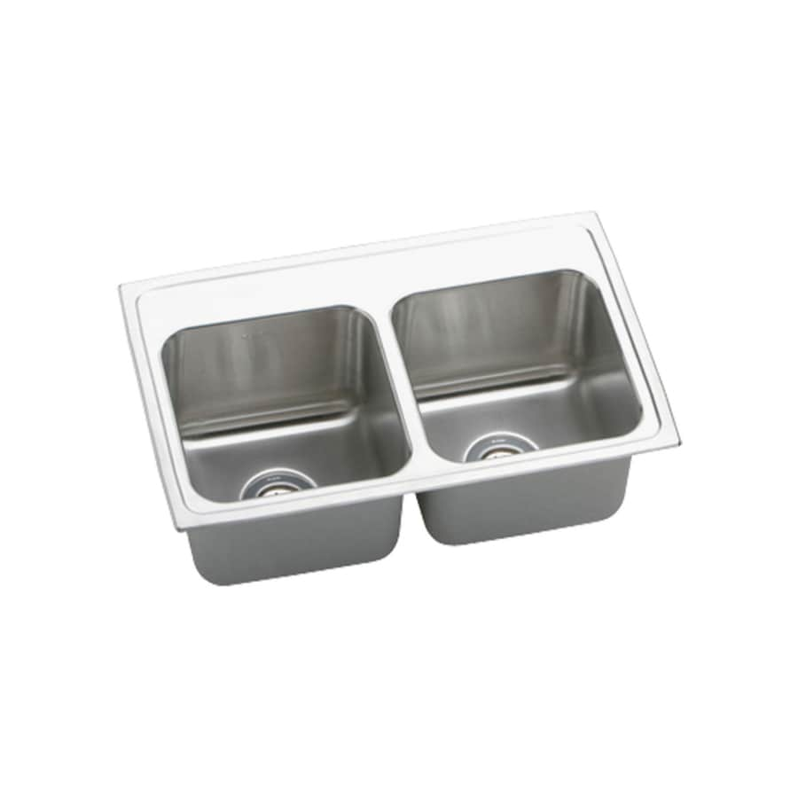 Elkay Gourmet 19.5-in x 25-in Lustrous Highlighted Satin Double-Basin Stainless Steel Drop-In Residential Kitchen Sink