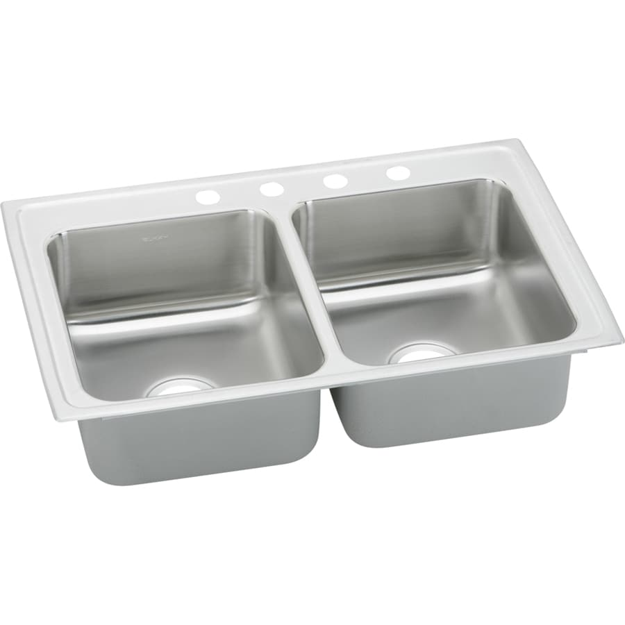 Elkay Gourmet 22-in x 43-in Stainless Steel Double-Basin Drop-In 4-Hole Residential Kitchen Sink with Drainboard
