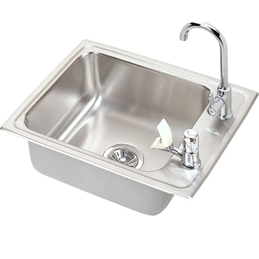 Elkay 17-in x 22-in Lustrous Highlighted Satin Self-Rimming Stainless Steel Utility Tub Utility Sink with Drain and Faucet