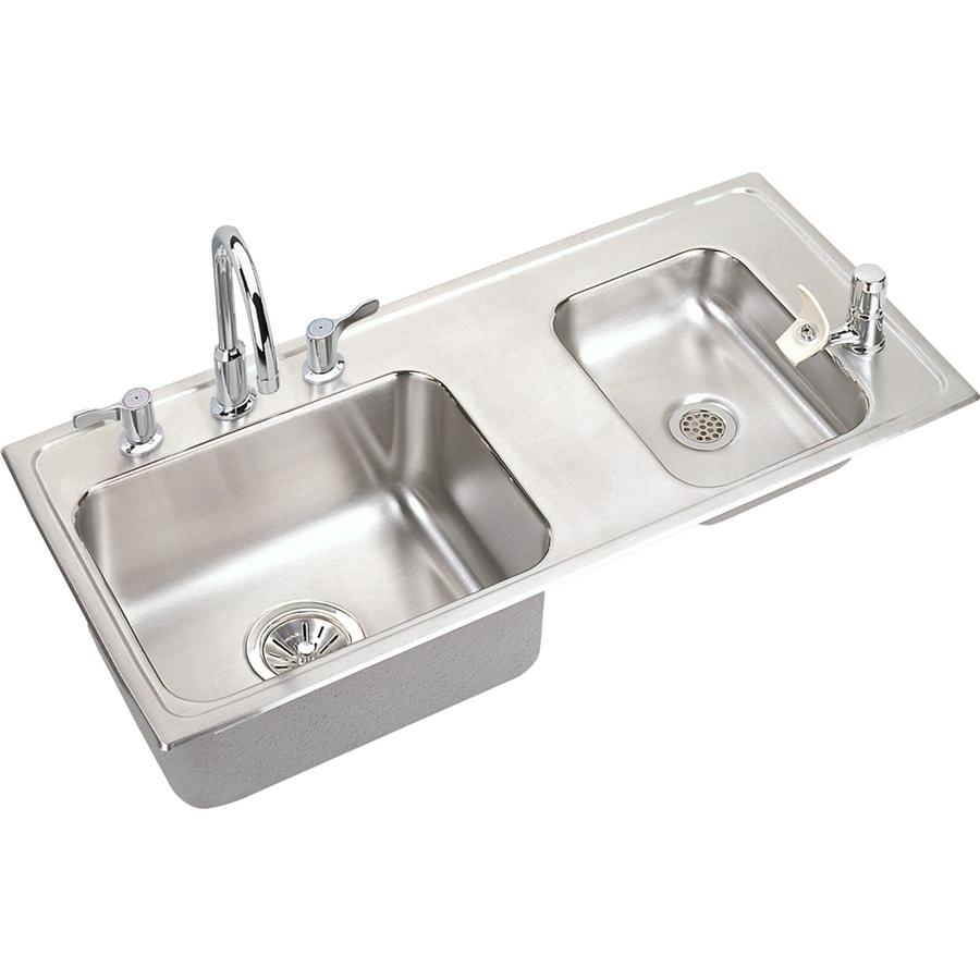 Elkay 17-in x 37.25-in 2-Basin Lustrous Highlighted Satin Self-Rimming Stainless Steel Utility Tub Utility Sink with Drain and Faucet