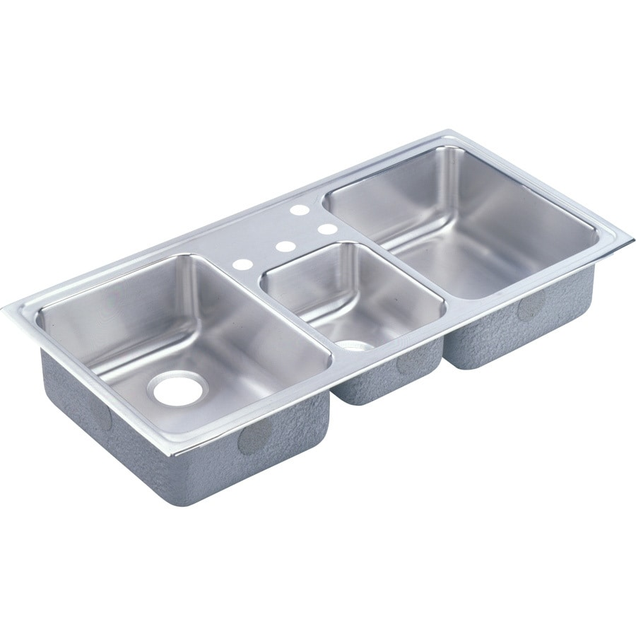 Elkay Gourmet 22-in x 43-in Lustrous Highlighted Satin Triple-Basin Stainless Steel Drop-In 4-Hole Residential Kitchen Sink