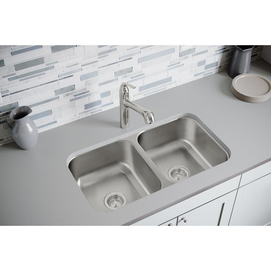 Elkay Dayton 18.25-in x 31.75-in Radiant Satin Double-Basin Stainless Steel Undermount Residential Kitchen Sink