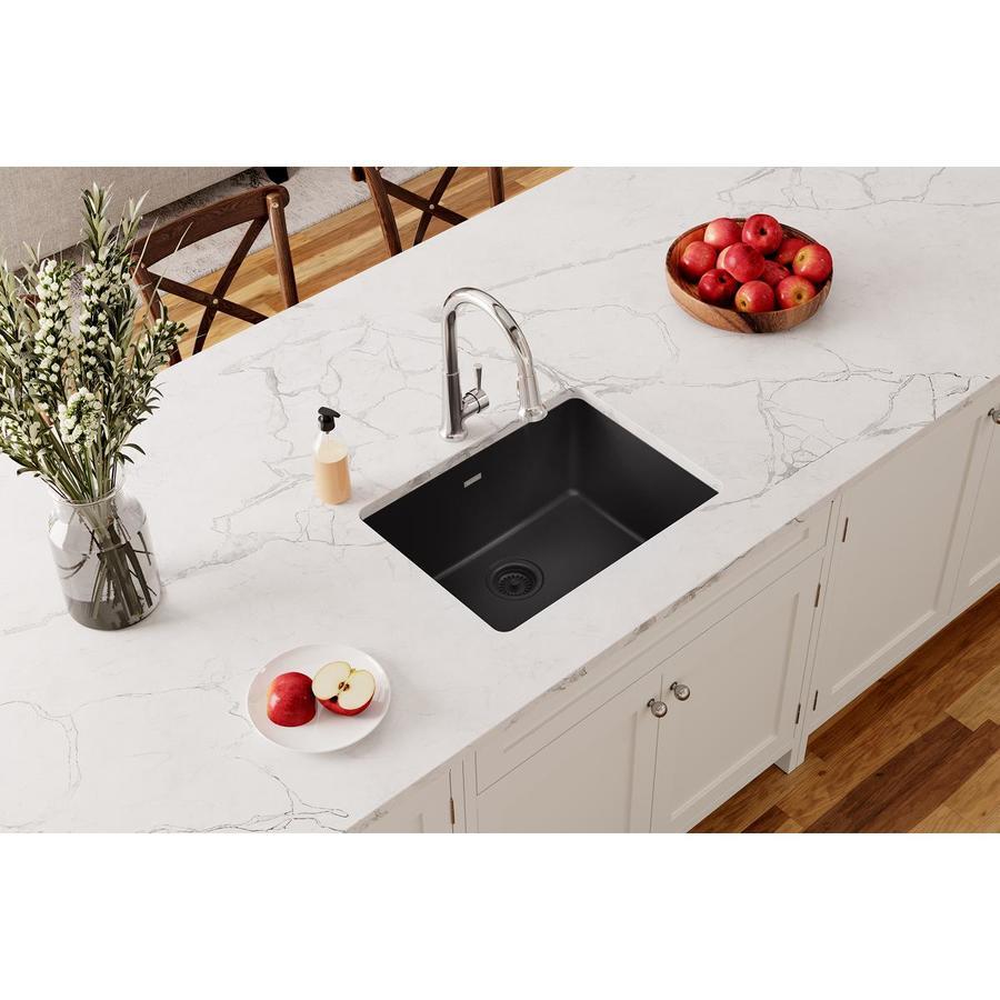 Elkay Gourmet 18.5-in x 25-in Black Single-Basin Granite Undermount Residential Kitchen Sink