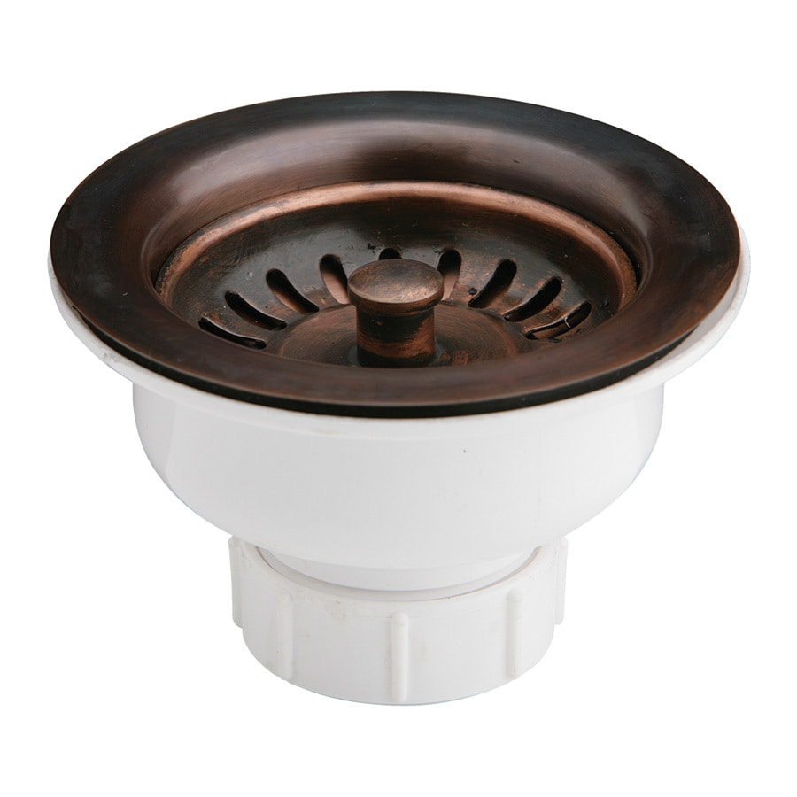 Shop elkay 4 5 in antique copper plastic fixed post for 2 kitchen sink drain