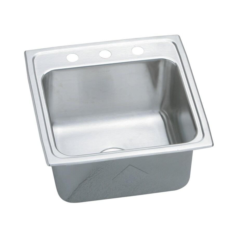 Elkay Pursuit 19-in x 19.5-in Stainless Steel Single-Basin Drop-In 3-Hole Residential Kitchen Sink