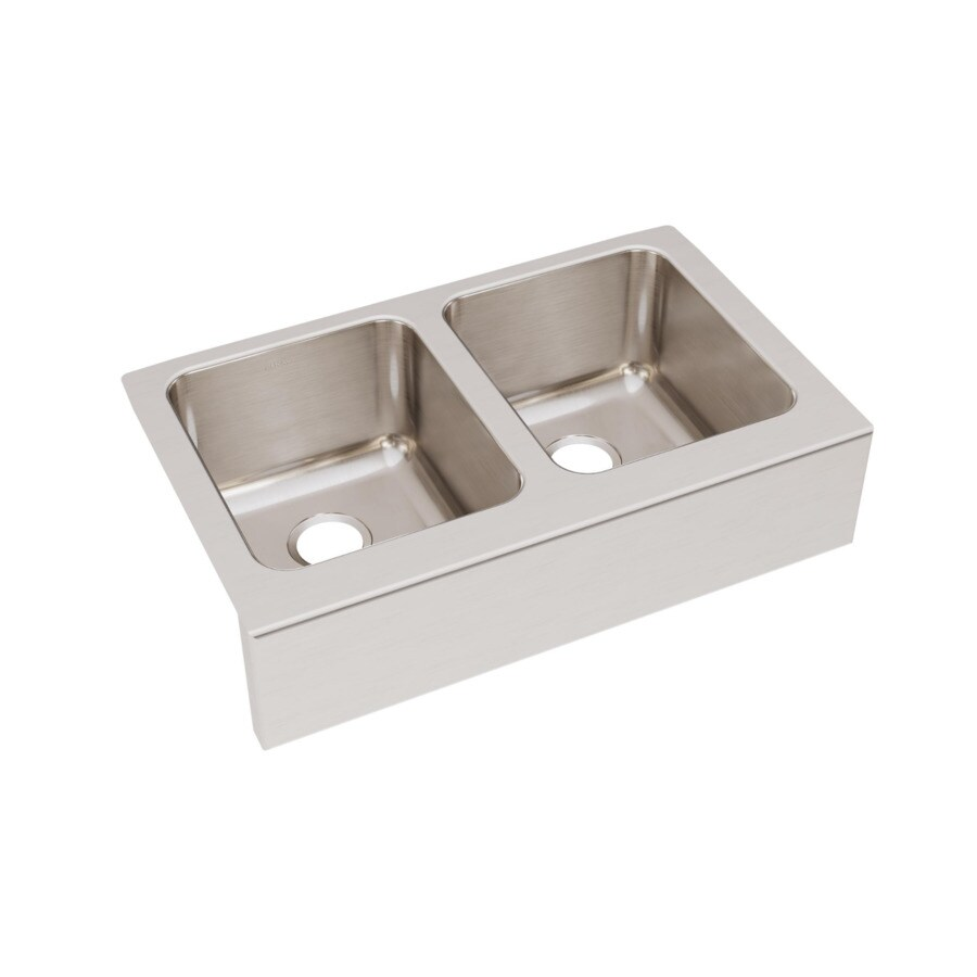 Elkay Gourmet 20.5-in x 33-in Stainless Steel Double-Basin Apron Front/Farmhouse Residential Kitchen Sink