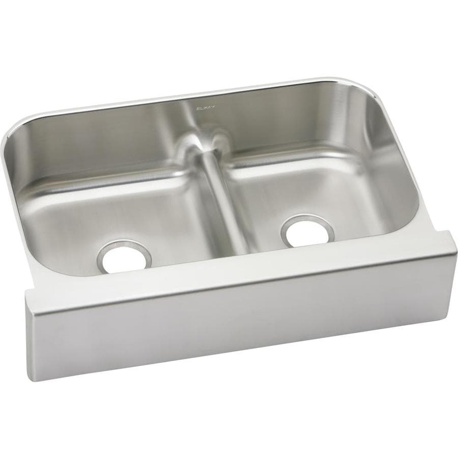 Elkay Gourmet 23.063-in x 34.625-in Bright Satin Double-Basin Stainless Steel Apron Front/Farmhouse Residential Kitchen Sink
