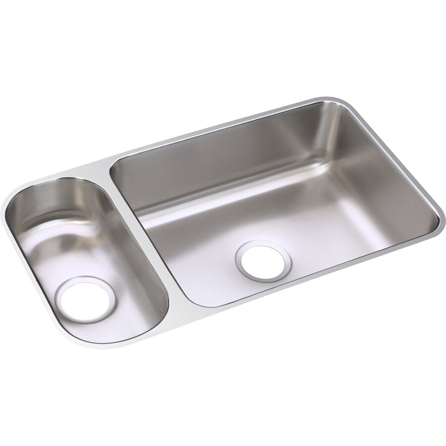 Elkay Gourmet 18.25-in x 32.25-in Lustrous Highlighted Satin Double-Basin Stainless Steel Undermount Residential Kitchen Sink