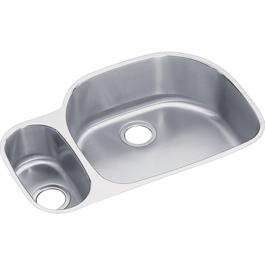 Elkay Harmony 21.19-in x 31.56-in Stainless Steel Double-Basin Undermount Residential Kitchen Sink