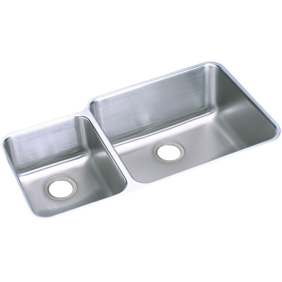 Elkay Gourmet 20.5-in x 35.25-in Stainless Steel Double-Basin Undermount Residential Kitchen Sink