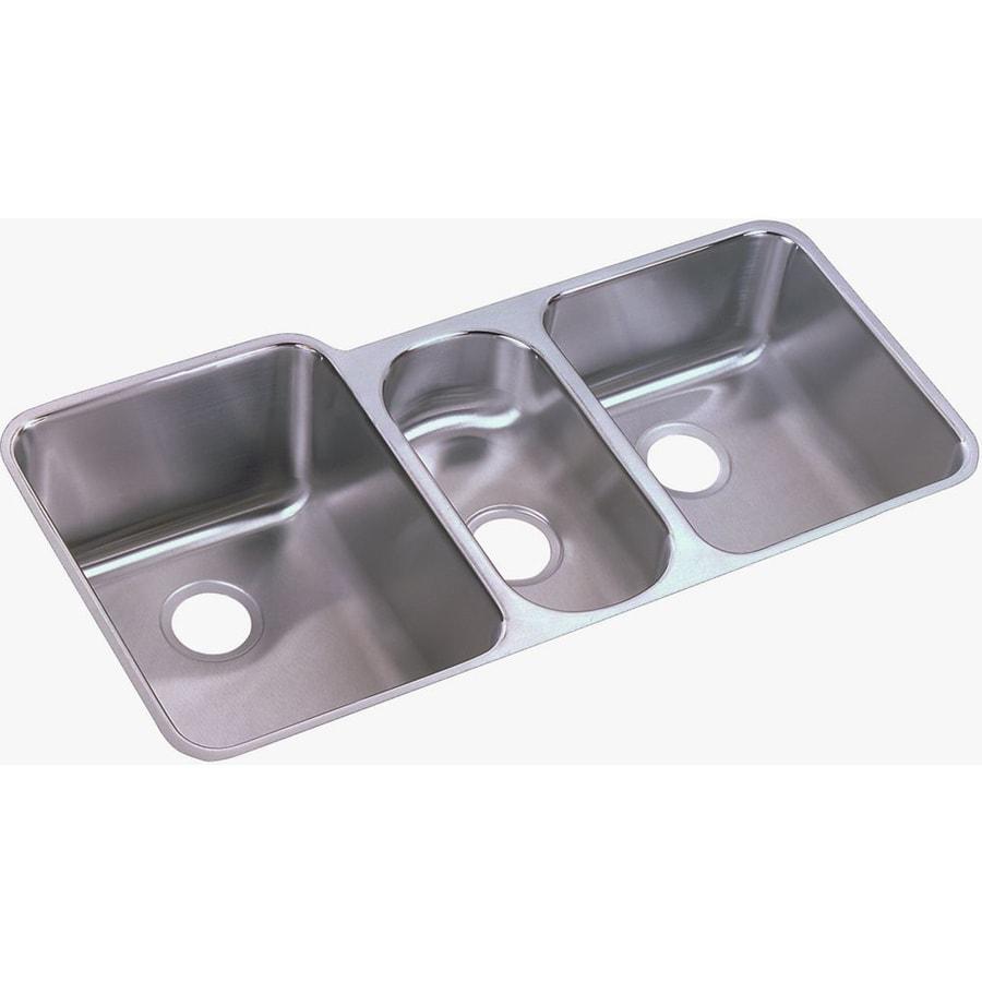 ... Satin Triple-Basin Stainless Steel Undermount Residential Kitchen Sink