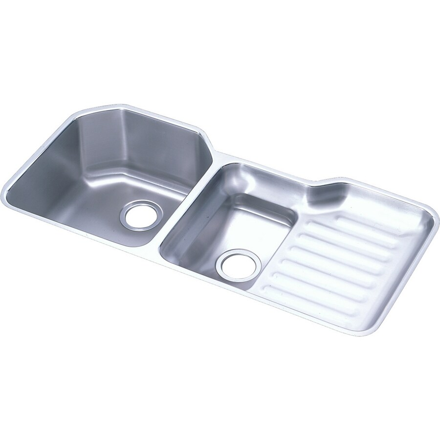 Elkay Harmony 20.5-in x 41.5-in Stainless Steel Double-Basin Undermount Residential Kitchen Sink with Drainboard