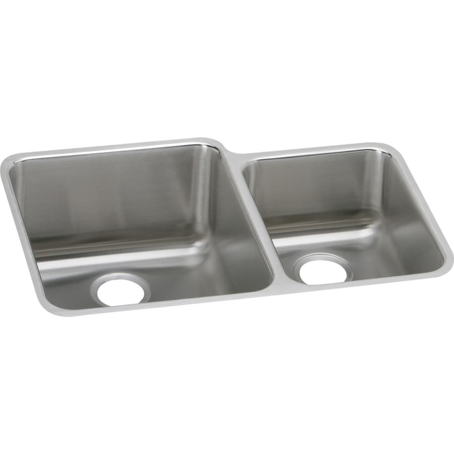 Elkay Gourmet 21-in x 30.75-in Lustrous Highlighted Satin Double-Basin Stainless Steel Undermount Residential Kitchen Sink