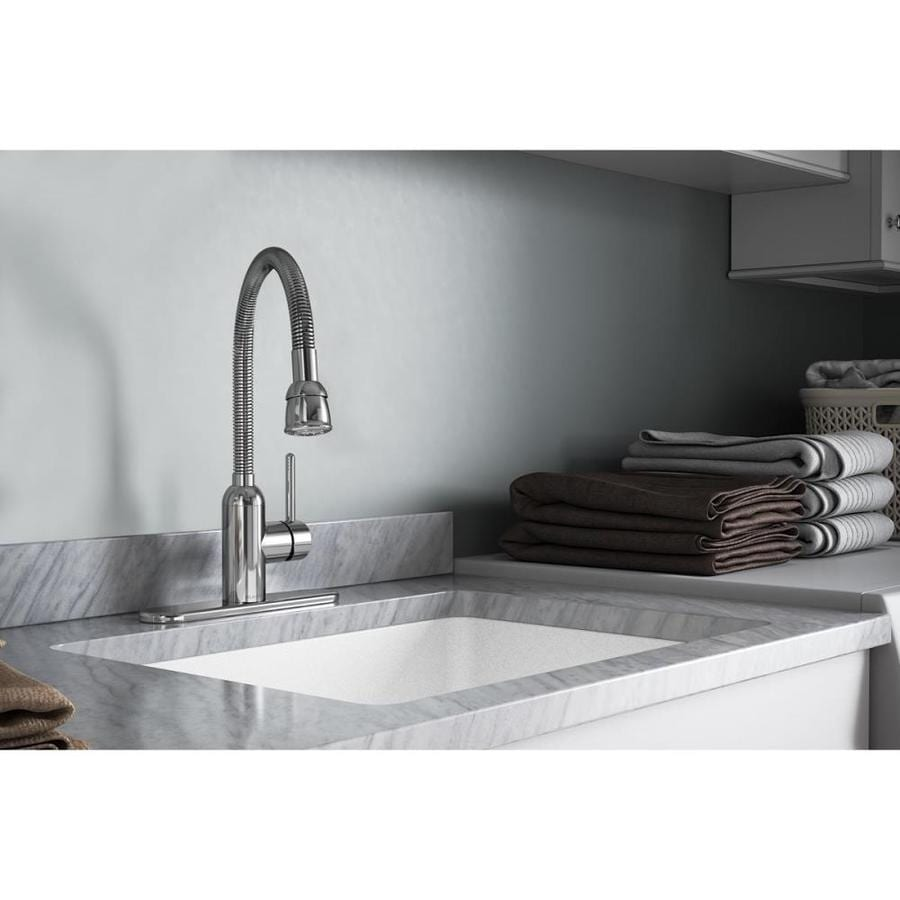Shop elkay pursuit chrome 1 handle utility faucet at lowescom for Laundry room faucets with sprayer