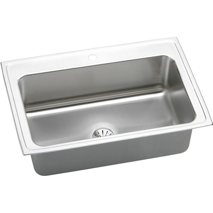 Elkay Gourmet 22-in x 33-in Stainless Steel Single-Basin Drop-In 1-Hole Residential Kitchen Sink