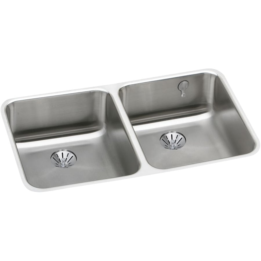 Elkay Gourmet 18.5-in x 30.75-in Lustrous Highlighted Satin Double-Basin Stainless Steel Undermount Residential Kitchen Sink