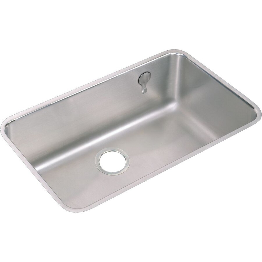 Elkay Gourmet 18.5-in x 30.5-in Lustrous Highlighted Satin Single-Basin Stainless Steel Undermount Residential Kitchen Sink