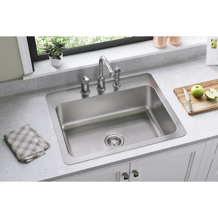 Elkay Gourmet 22-in x 27-in Elite Satin Single-Basin Stainless Steel Drop-In or Undermount 3-Hole Residential Kitchen Sink