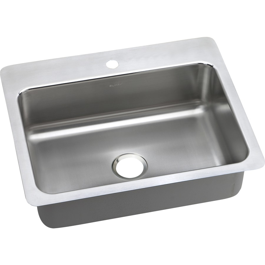 Elkay Gourmet 22-in x 27-in Brilliant Satin Single-Basin Stainless Steel Drop-In or Undermount 1-Hole Residential Kitchen Sink