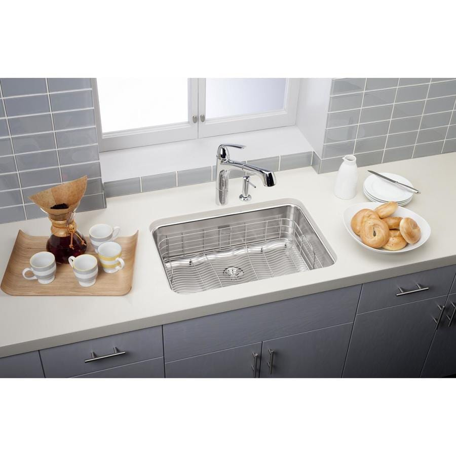 Elkay Gourmet 17.5-in x 25.5-in Lustrous Satin Single-Basin Stainless Steel Undermount Residential Kitchen Sink