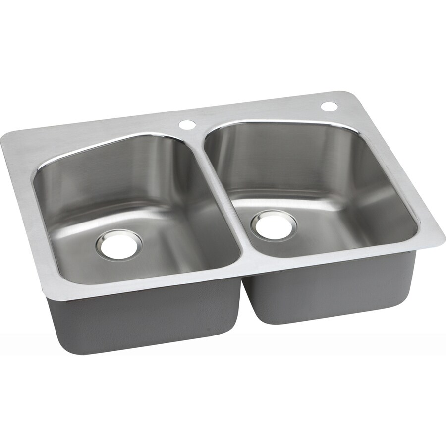 Elkay Gourmet 22-in x 33-in Lustrous Highlighted Satin Double-Basin Stainless Steel Drop-In or Undermount 2-Hole Residential Kitchen Sink