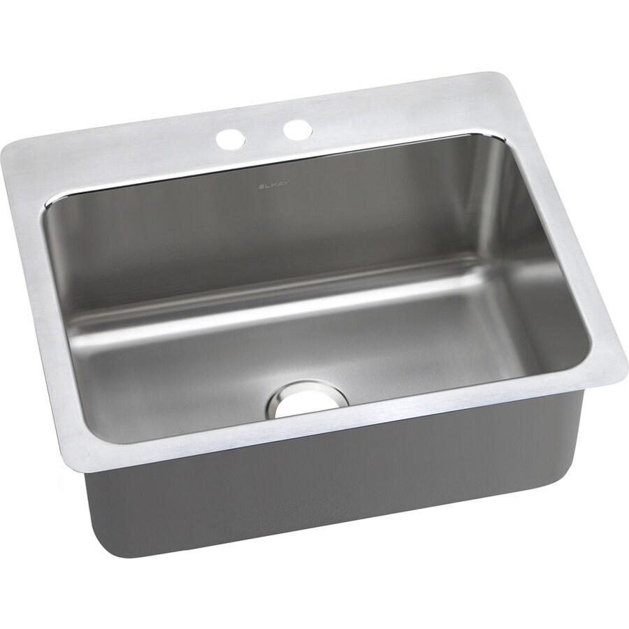 Elkay Gourmet 22-in x 27-in Brilliant Satin Single-Basin Stainless Steel Drop-In or Undermount 2-Hole Residential Kitchen Sink