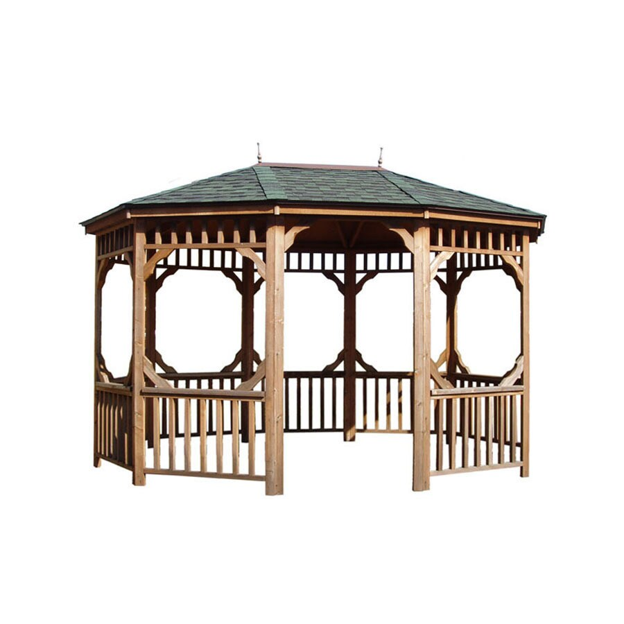 Heartland Brown Cedar Oval Gazebo (Exterior: 15.9-ft x 12.8-ft; Foundation: 15.2-ft x 12.1-ft)