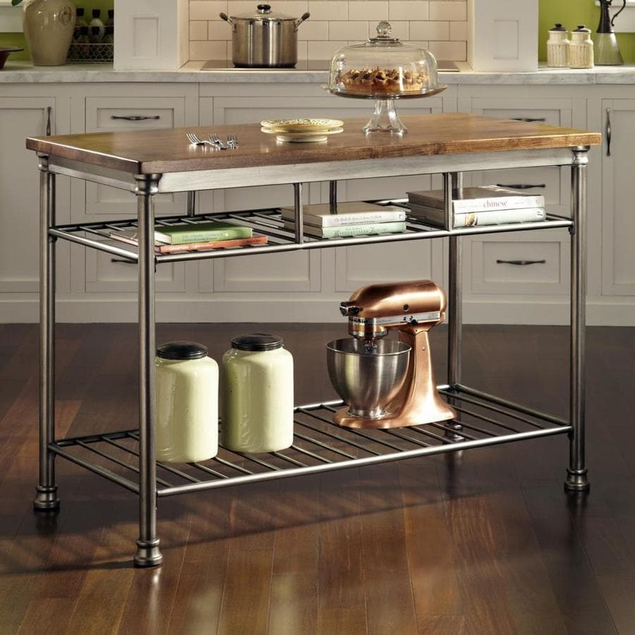 Home Styles Gray Metal Base With Wood Butcher Block Top Prep Table 25 In X 52 In X 36 In In The Kitchen Islands Carts Department At Lowes Com