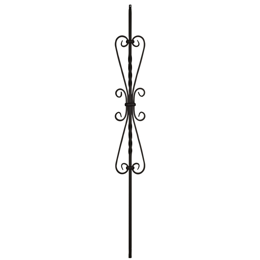Creative Stair Parts Scroll 44-in Satin Black Wrought Iron Scroll Stair Baluster