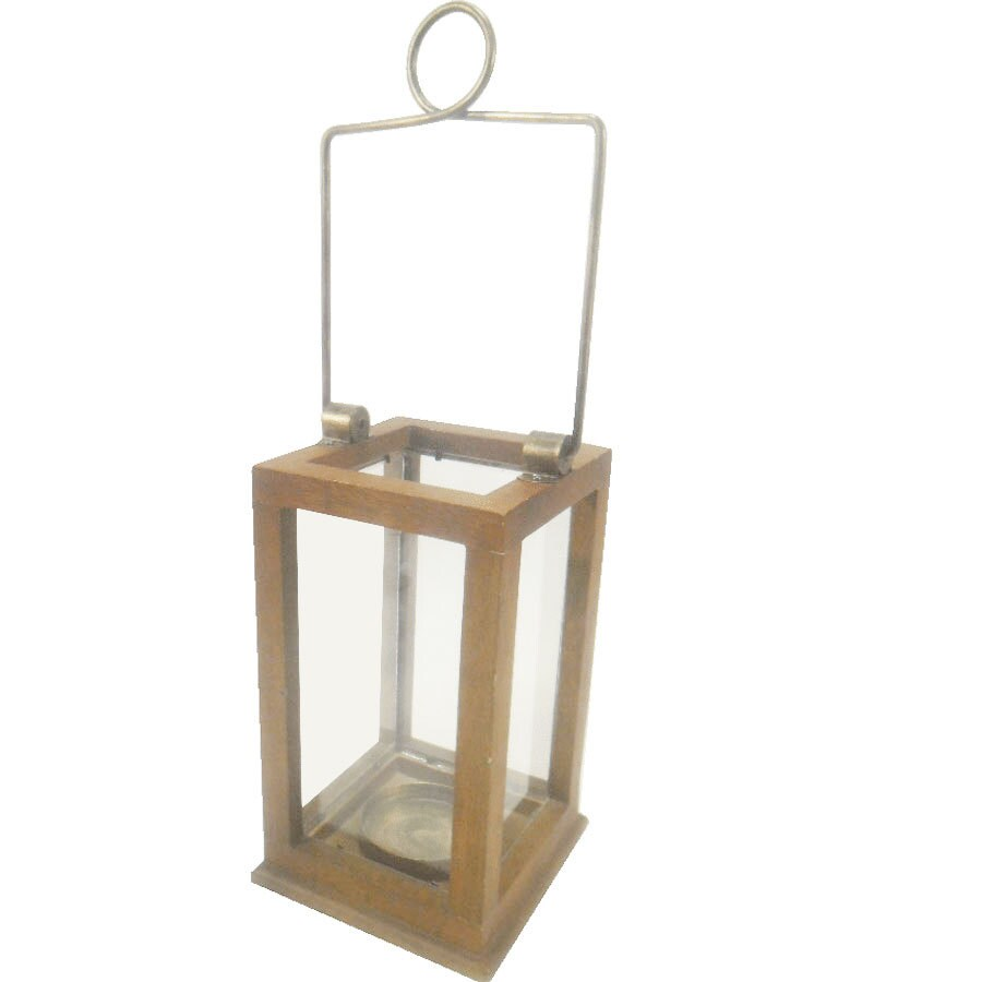 allen + roth 6-in x 11-in Natural Glass Pillar Candle Outdoor Decorative Lantern