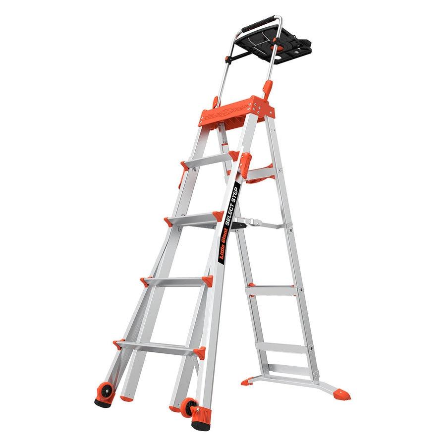 Telescoping Step Ladder : Shop little giant ladders ft aluminum lb telescoping