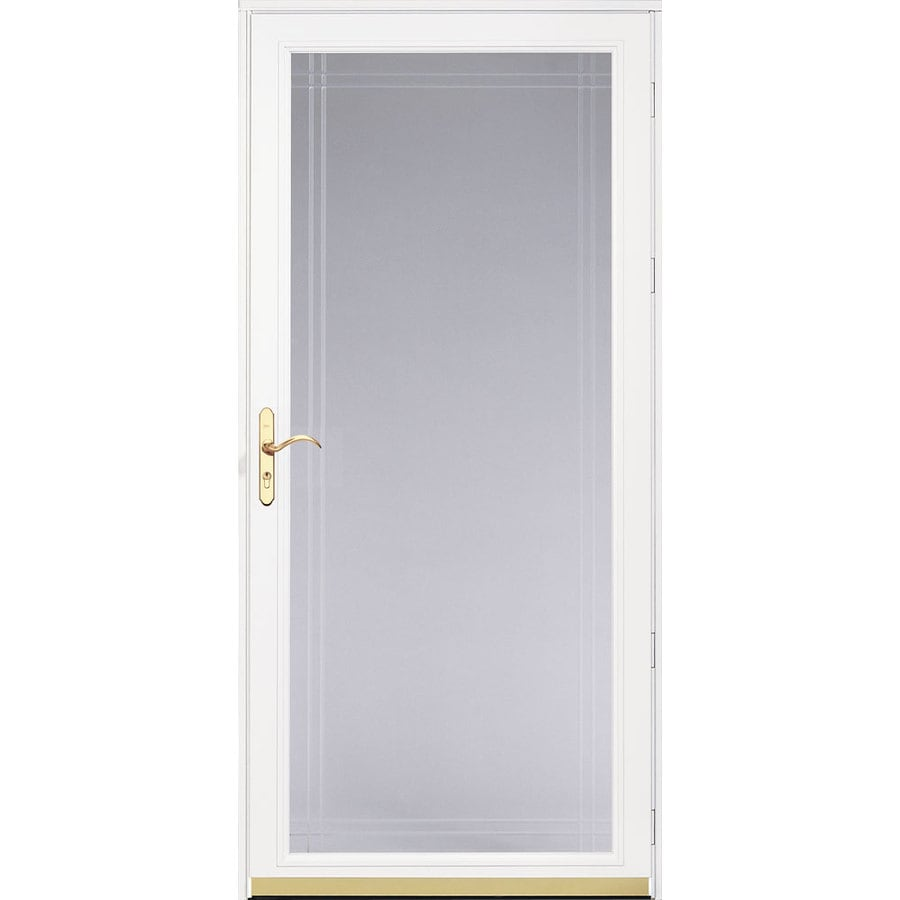 Shop pella royalton white full view beveled safety glass for Storm door window