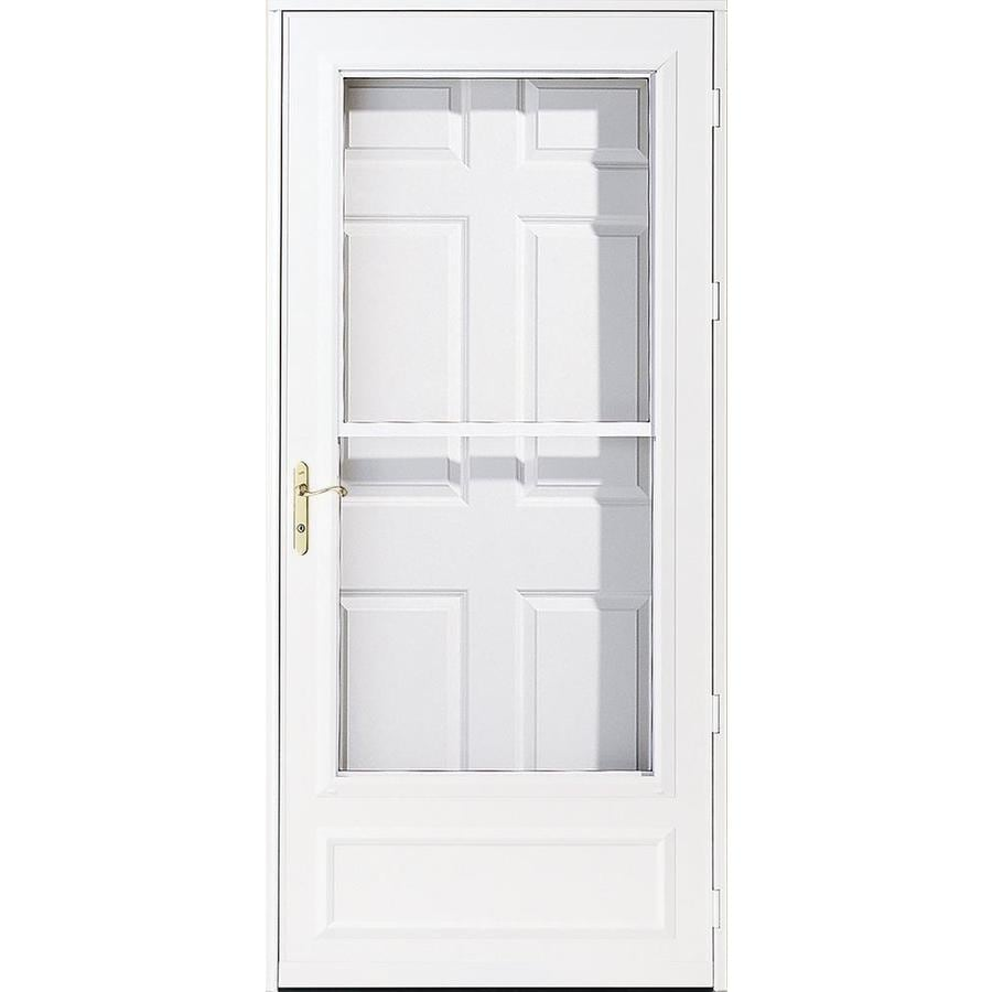 Shop pella helena white mid view safety wood core for Disappearing screen doors lowes