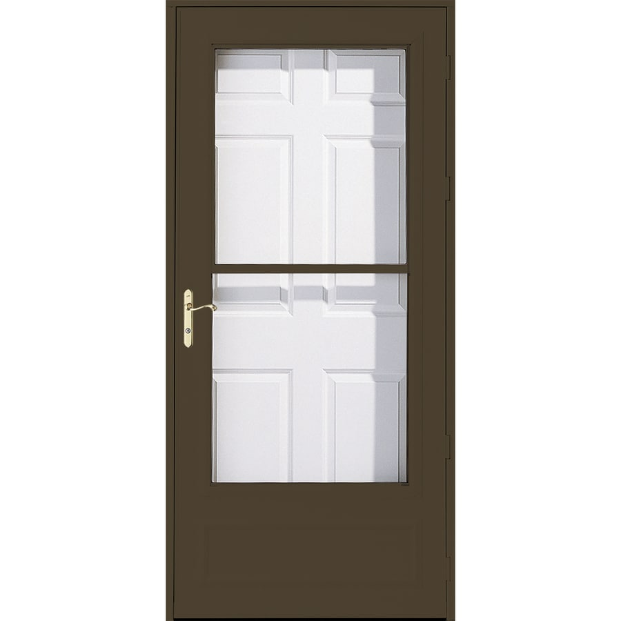Shop pella helena brown mid view safety wood core for Retractable screen door