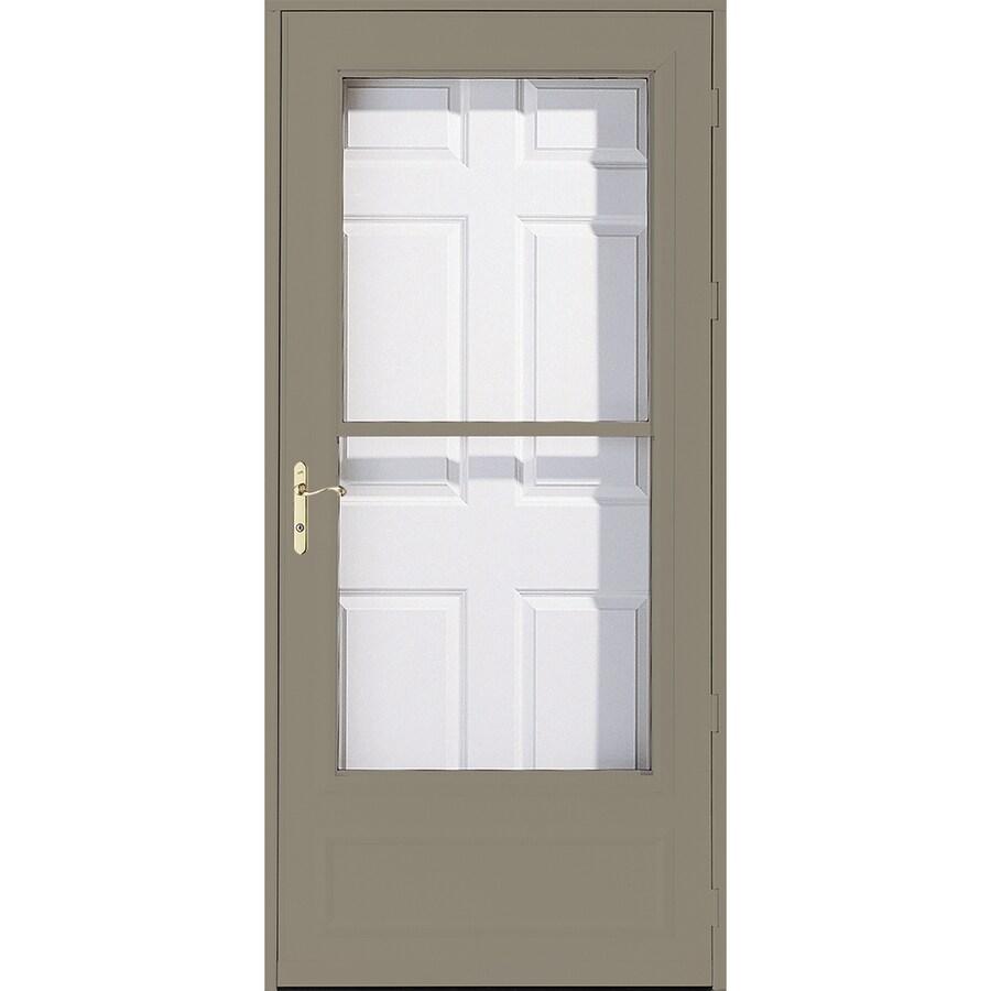 Pella Helena Putty Mid-View Safety Wood Core Retractable Screen Storm Door (Common: 36-in x 81-in; Actual: 35.75-in x 79.875-in)