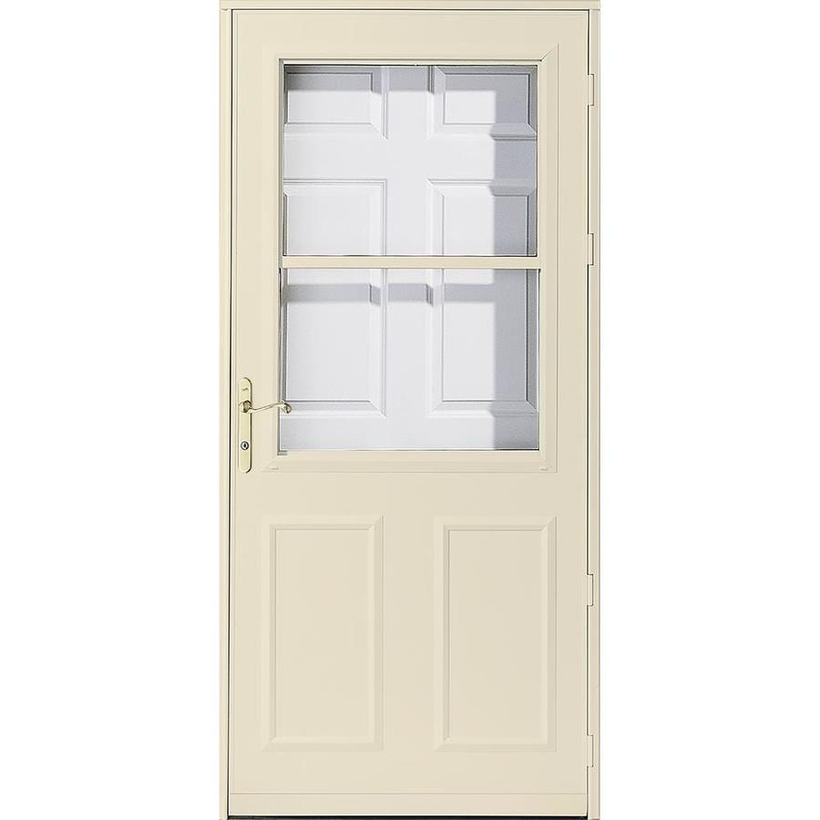 Shop pella olympia poplar white high view safety wood for 32 retractable screen door