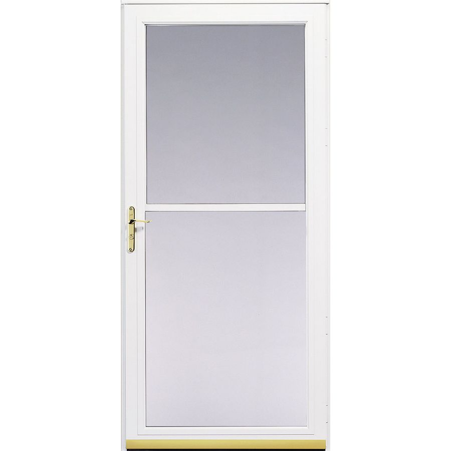 Shop pella 3800 series white full view safety aluminum for Pella retractable screen door