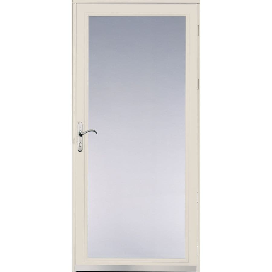 Pella Ashford Poplar White Full-View Safety Glass and Interchangeable Screen Storm Door (Common: 36-in x 81-in; Actual: 35.75-in x 79.875-in)