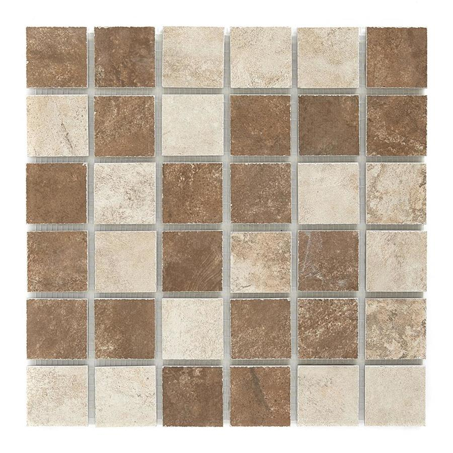 Style Selections Mesa Mixed Rust and Beige - Glazed Porcelain Porcelain Listello Tile (Common: 12-in x 12-in; Actual: 11.75-in x 11.75-in)