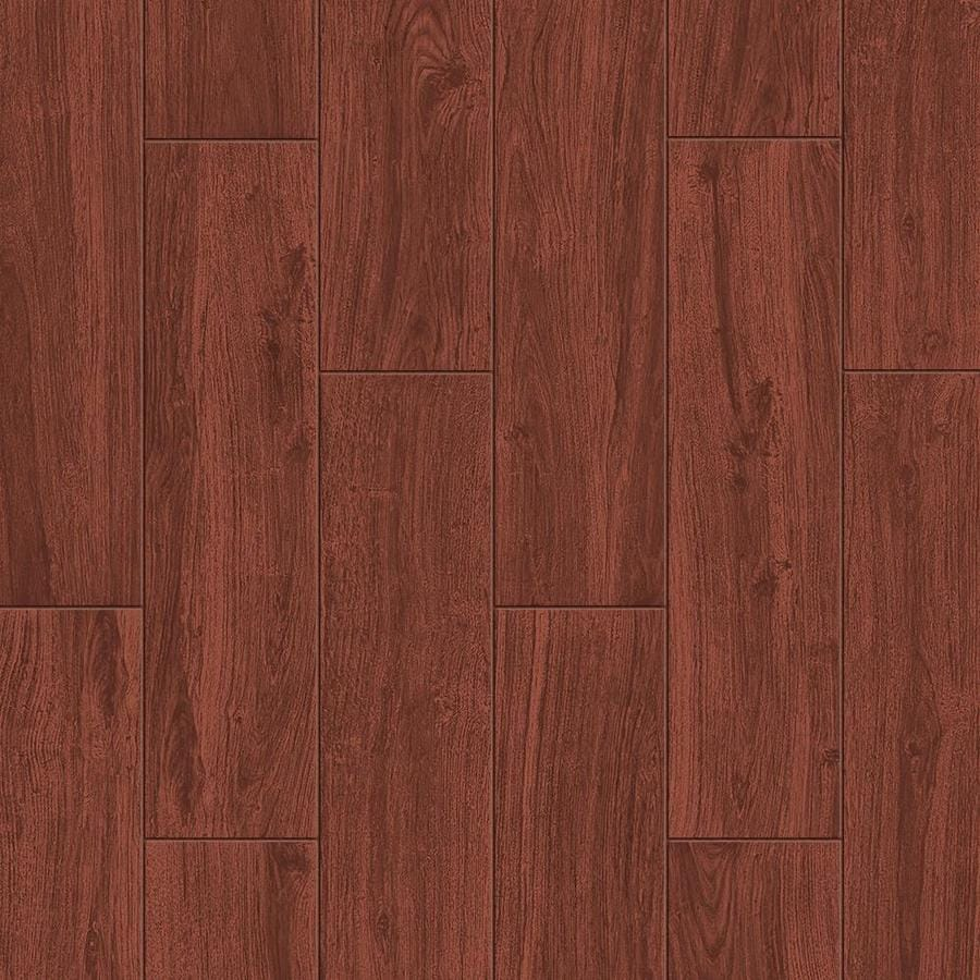Shop style selections serso mahogany porcelain floor and wall tile common 6 in x 24 in actual Tile ceramic flooring