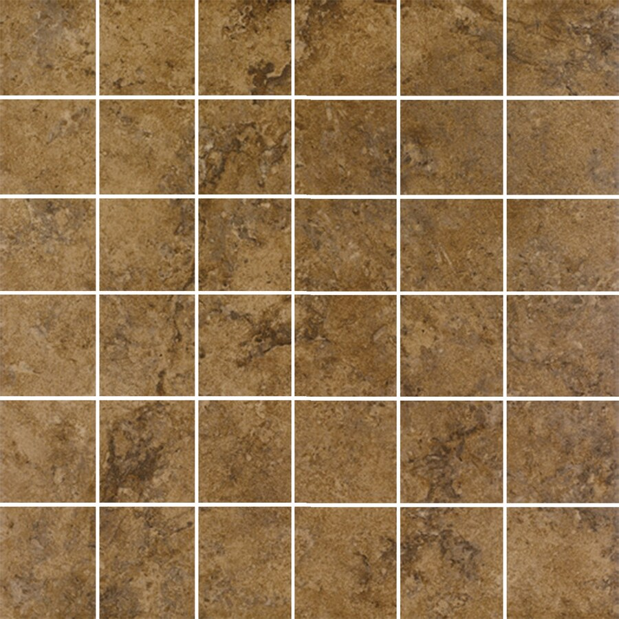 FLOORS 2000 Corfinio Sangria Uniform Squares Mosaic Porcelain Floor and Wall Tile (Common: 12-in x 12-in; Actual: 11.75-in x 11.75-in)