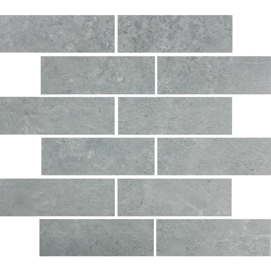 Style Selections Skyros Gray Subway Mosaic Porcelain Floor and Wall Tile (Common: 12-in x 14-in; Actual: 11.75-in x 13.75-in)