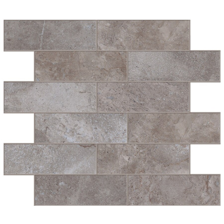 Style Selections Bagnoli Noce Subway Mosaic Porcelain Floor and Wall Tile (Common: 12-in x 15-in; Actual: 11.75-in x 15.75-in)