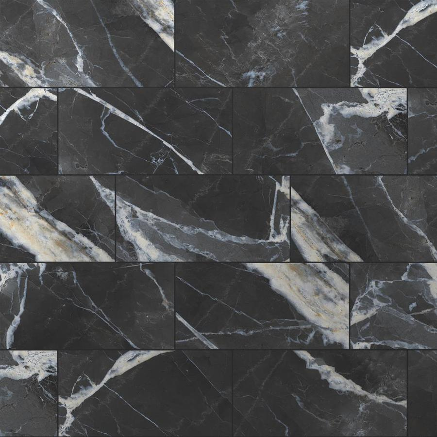 TRUE PORCELAIN CO. Calacatta Black Polished 7-in x 7-in Polished  Porcelain Marble Look Floor and Wall Tile