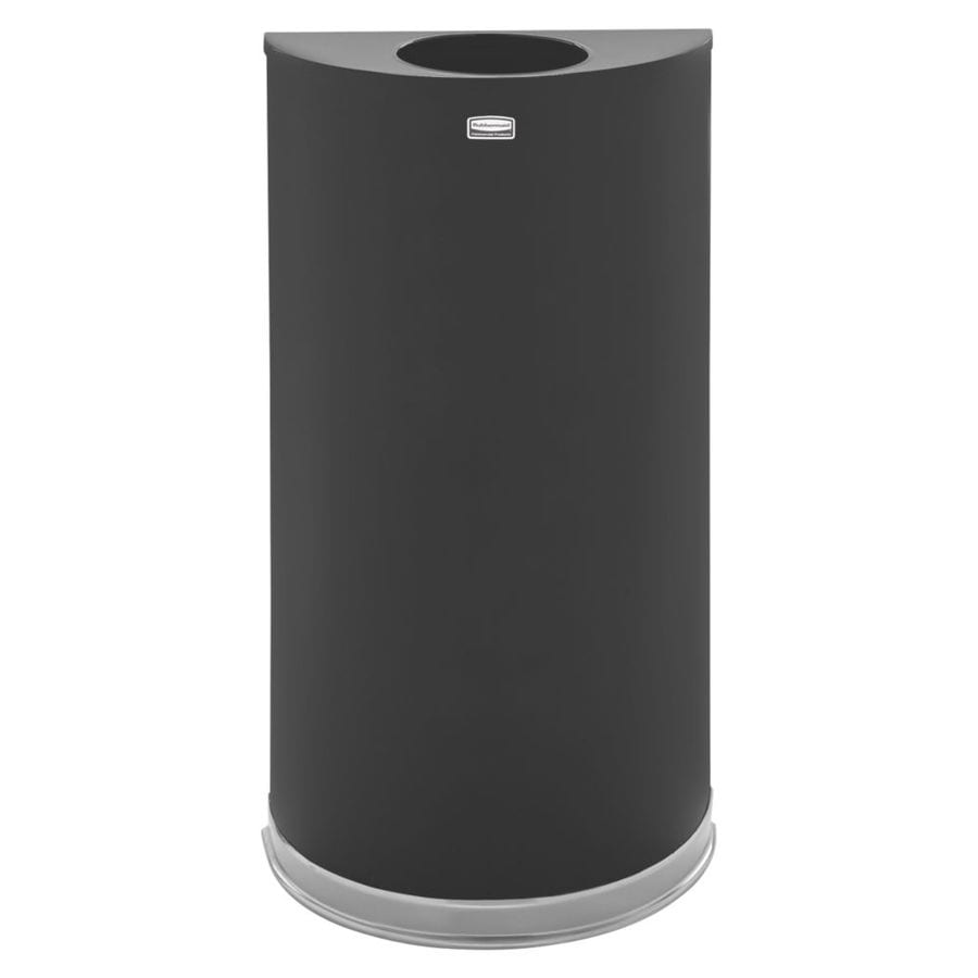 Rubbermaid Commercial Products Half-Round 12-Gallon Black Indoor Garbage Can