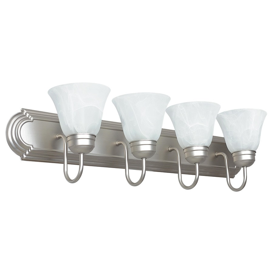 Vanity Light No Stud : Shop 4-Light Ashton Satin Nickel Bathroom Vanity Light at Lowes.com