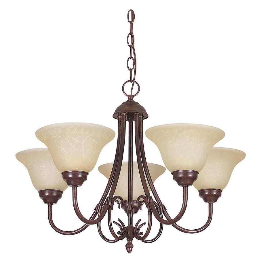 Ashton 22.5-in 5-Light Rubbed Bronze Stained Glass Standard Chandelier
